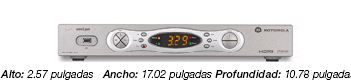 Motorola 7100-P1 HD Set-top Box - a silver box, 2.6 inches high, 17.2 inches wide and 10.78 inches deep