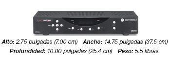 Motorola 2500 SD Set-top Box - a black box that weights 5.5 lbs and is 2.75 inches high, 14.75 inches wide and 10 inches deep