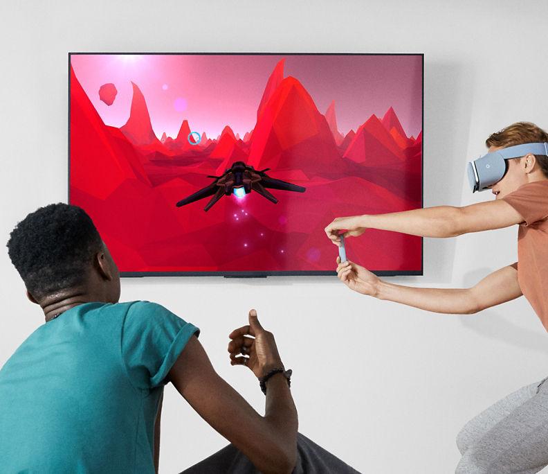 Juego de Google Daydream View proyectado en un televisor de pantalla plana.