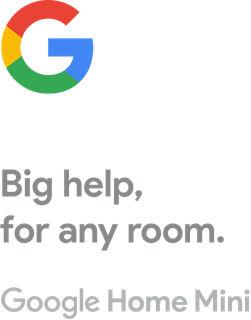 Logotipo de la G de Google con texto incluido: Gran ayuda, para cualquier habitación. Google Home Mini